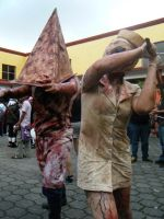 pyramid head and nurse 9 by UltharCosplay