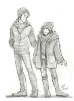 Ron and Hermione: Winter clothing by Catching-Smoke