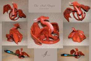 Red dragon sculpture by AlviaAlcedo