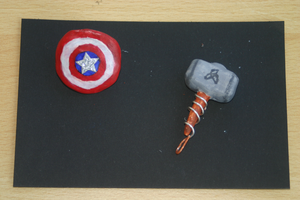 Mjolnir And Cap's shield Charms by Whitewolfie666