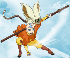 Aang and Momo by Eleynn