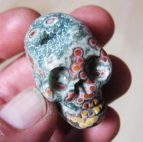 ocean jasper skull carving by tattoopink
