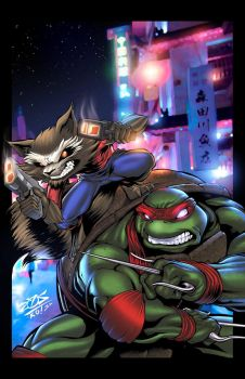 Rocket Raccoon and Raph! by JackLavy