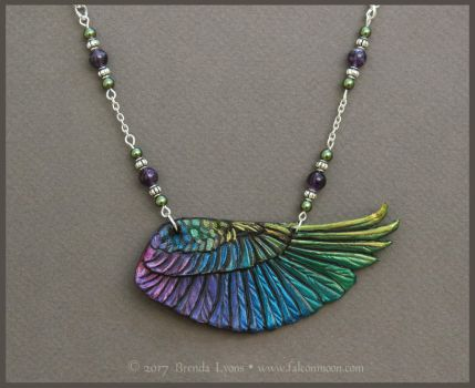 Iridescent Rainbow Wing - Leather Necklace by windfalcon