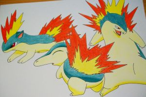 Cyndaquil, Quilava and Typhlosion by SakakiTheMastermind