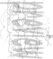Anthro wolf line art with 7 different hair styles by Shadowfoxnjp
