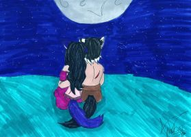 Moonlit lovers by PainfulSuffering