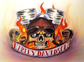Flaming Skull (Harley Davidson) by dx
