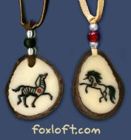 Unicorn and Zebra Pendants by Foxfeather248