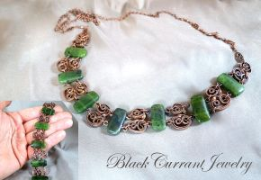 Jade and Copper Necklace with Matching Bracelet by blackcurrantjewelry