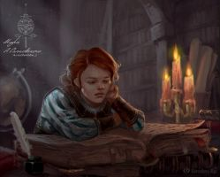 Triss Merigold  in childhood by IcedWingsArt