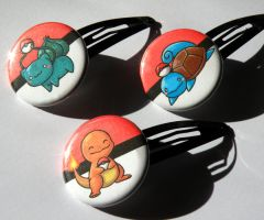 Pokemon hair clips by michellescribbles