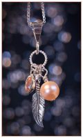 Oregon Sunstone, Pearl and Feather Charm Pendant by Sarahorsomeone