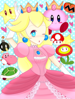 Peach and Kirby by lilidoodle