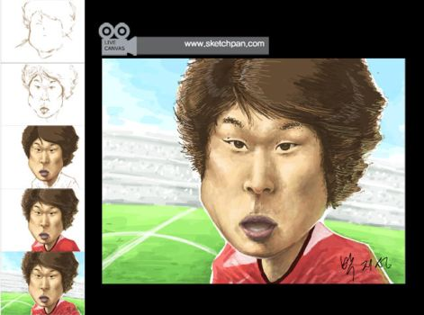 caricature of Ji-Sung Park by Cinethon