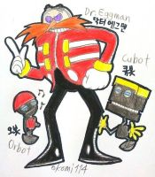 Dr.Eggman with Orbot and Cubot by komi114