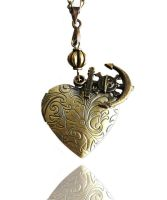 SOLD - Bronze Heart Locket Anchor Skull Necklace by crystaland
