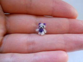 ooak micro extreme miniature jointed purple bear by tweebears