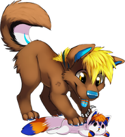 Chibi commission for AtomicPawprint by VengefulSpirits