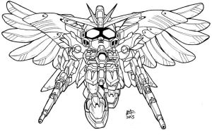SD Wing Zero Custom lineart by Mintyrobo