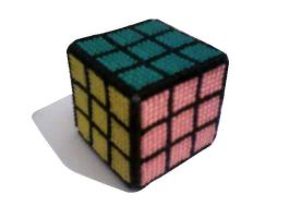 Rubik's cube cross-stitch by Alondra-chui