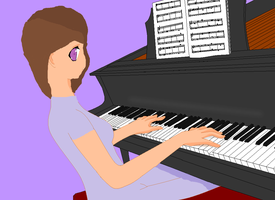 Kat and her Piano by Galiclya