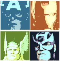 Captain America,Iron Man,Thor, and Hawkeye by DevintheCool