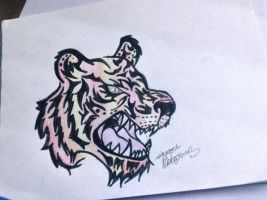 Tribal tiger head by Ember-Flame007