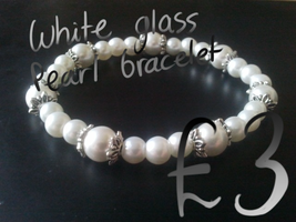 White Glass Pearl Bracelet by magerights