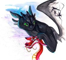 Throwback Dragons: Toothless and Mushu by Lucky978