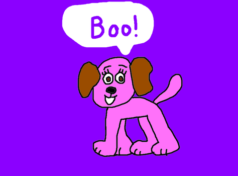 Boo in Dog Form Saying Boo! by MikeEddyAdmirer89