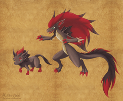 Dragon Type Zorua and Zoroark by Phantom-Akiko