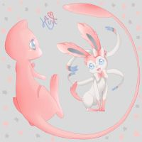 Mew and Sylveon by hinivaal