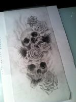 Skulls and roses sketch by Slabzzz