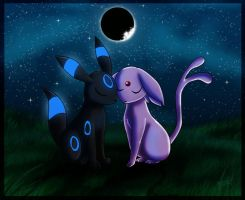 umbreon and espeon by SadowWolfKACT