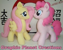 Fluttershy and Pinkie Pie Plushies by GraphicPlanetDesign