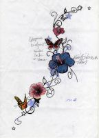 flower butterfly sketch by jokerspalace