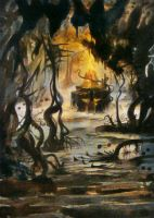MTG Swamp 1 [paint over] by Falassion