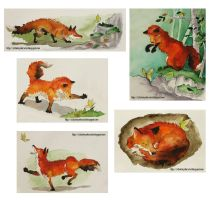 Fox and butterfly by yenefer