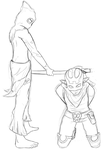 Dofus Sketch: The Rogue and the Sacrier by Wings--Of--Freedom