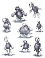 Turtle Character Sketches by mighty5cent