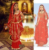 Traditional Indian Bridal Costume+Mehndi, India by LadyAquanine73551