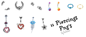 11 Piercings png's by ShyTheHuman