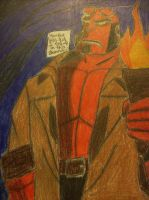 Hellboy in a Cave by ArtsyLibrarian