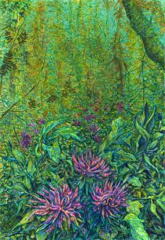 Dahlias in the forest by CalciteMink1610