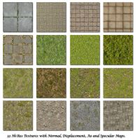 Bricks Grass Floor Textures by blenderunity3d