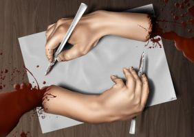 Cutting Hands by the-surreal-arts