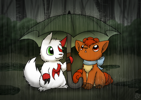 In the Rain by DragonwolfRooke
