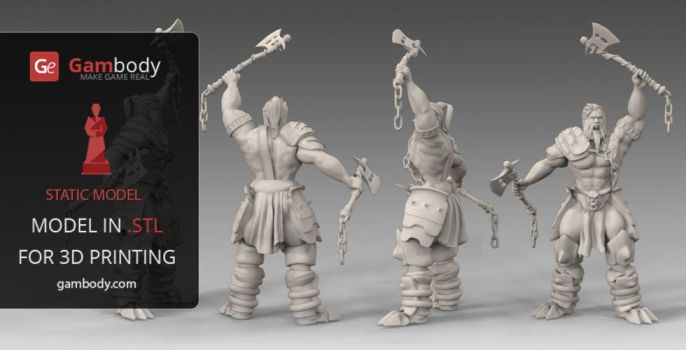 3D Print Design of Barbarian  from Diablo 3 by Gambody