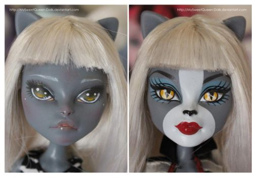 Repainting VS Factory Makeup: Meowlody by MySweetQueen-Dolls